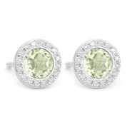 1.09ct Round Brilliant Cut Green Amethyst & Diamond Martini Stud Earrings in 14k White Gold