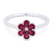 0.66ct Pear-Shaped Ruby & Round Cut Diamond Right-Hand Flower Ring in 18k White Gold
