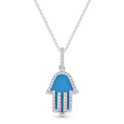 0.68ct Blue Turquoise & Diamond Hamsa Hand Evil Eye Charm Pendant in 14k White Gold w/ Chain Necklace