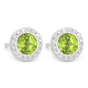 1.24ct Round Brilliant Cut Peridot & Diamond Martini Stud Earrings in 14k White Gold