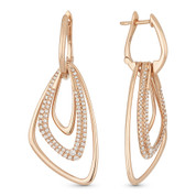0.70ct Round Cut Diamond Pave Open-Design-Stack Drop Earrings in 14k Rose Gold