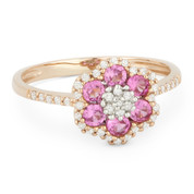 0.74ct Round Cut Lab-Created Pink Sapphire & Diamond Pave Right-Hand Flower Ring in 14k Rose Gold