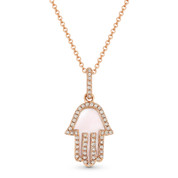 0.85ct Mother-of-Pearl & Diamond Hamsa Hand Evil Eye Charm Pendant in 14k Rose Gold w/ Chain Necklace