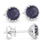 0.96ct Round Brilliant Cut Iolite & Diamond Halo Stud Earrings in 14k White Gold