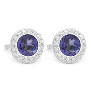 0.96ct Round Brilliant Cut Iolite & Diamond Martini Stud Earrings in 14k White Gold