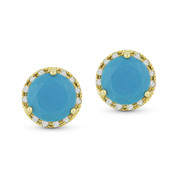 0.98ct Round Cut Blue Turquoise & Diamond Halo Martini Stud Earrings in 14k Yellow Gold