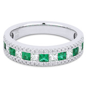 1.03ct Princess Cut Emerald & Diamond & Round Diamond Pave Anniversary Ring / Wedding Band in 18k White Gold