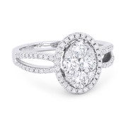 1.05ct Round Brilliant Cut Diamond Cluster & Halo Right-Hand Ring in 18k White Gold