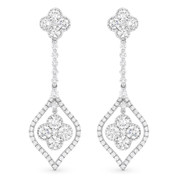 1.06ct Round Brilliant & Princess Cut Diamond Cluster Dangling Flower Earrings in 18k White Gold