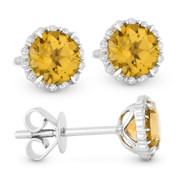 1.10 ct Round Brilliant Cut Citrine & Diamond Halo Stud Earrings in 14k White Gold