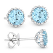 1.16ct Round Brilliant Cut Blue Topaz & Diamond Halo Stud Earrings in 14k White Gold
