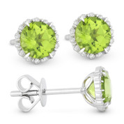 1.18ct Round Brilliant Cut Peridot & Diamond Halo Stud Earrings in 14k White Gold