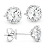 1.18ct Round Brilliant Cut White Topaz & Diamond Pave Halo Stud Earrings in 14k White Gold