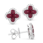 1.25ct Ruby Cluster & Diamond Pave Flower Charm Stud Earrings in 14k White Gold