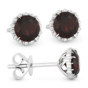 1.26ct Round Brilliant Cut Garnet & Diamond Halo Stud Earrings in 14k White Gold