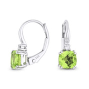 1.34ct Cushion Cut Peridot & Round Diamond 14x5mm Leverback Drop Earrings in 14k White Gold