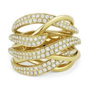 1.34ct Round Cut Diamond Right-Hand Multi-Swirl Wrap Ring in 14k Yellow Gold