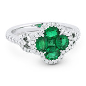 1.35ct Emerald Cluster & Diamond Pave Right-Hand Flower Ring in 18k White Gold