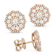 1.40ct Round Brilliant Cut Diamond Cluster Flower Stud Earrings in 14k Rose Gold