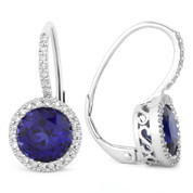 3.83ct Round Brilliant Cut Lab-Created Blue Sapphire & Diamond Leverback Drop Earrings in 14k White Gold