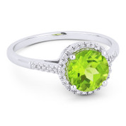 1.48ct Round Brilliant Cut Peridot & Diamond Halo Promise Ring in 14k White Gold