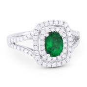 1.49ct Oval Cut Emerald & Diamond Pave Double-Halo Engagement Ring in 18k White Gold