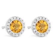 1.05ct Round Brilliant Cut Citrine & Diamond Martini Stud Earrings in 14k White Gold
