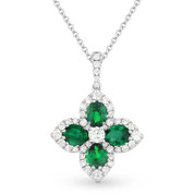 1.54ct Emerald & Diamond Pave Flower Pendant in 18k White Gold Flower Pendant w/ 14k Chain Necklace