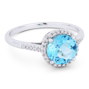 1.55ct Round Brilliant Cut Blue Topaz & Diamond Halo Promise Ring in 14k White Gold