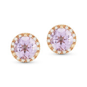 1.59ct Round Brilliant Cut Pink Amethyst & Diamond Halo Martini Stud Earrings in 14k Rose Gold