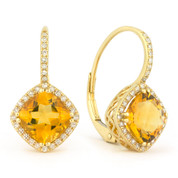 2.94ct Cushion Cut Citrine & Round Diamond Leverback Drop Earrings in 14k Yellow Gold