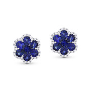 1.61ct Pear-Shaped Sapphire & Round Cut Diamond Flower Stud Earrings in 18k White Gold