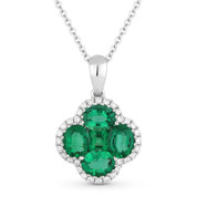 1.62ct Oval & Princess Emerald & Round Diamond Flower Pendant in 18k White Gold w/ 14k Chain Necklace