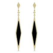1.63ct Black Onyx & Diamond Pave Dangling Diamond-Shaped Stiletto Earrings in 14k Yellow Gold