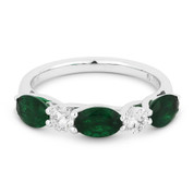 1.64ct Oval Cut Emerald & Round Diamond 5-Stone Anniversary Ring / Wedding Band in 18k White Gold