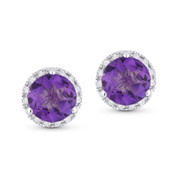 1.65ct Round Brilliant Cut Amethyst & Diamond Halo Martini Stud Earrings in 14k White Gold
