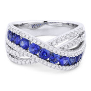 1.66ct Round Brilliant Cut Sapphire & Round Diamond Pave Right-Hand Overlap-Design Fashion Ring in 18k White Gold