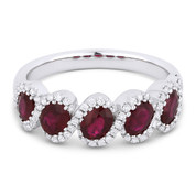 1.70ct Oval Cut Ruby & Round Diamond Halo 5-Stone Ring in 14k White Gold