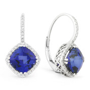 4.64ct Cushion Cut Lab-Created Blue Sapphire & Round Diamond Leverback Drop Earrings in 14k White Gold