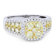 1.71ct Yellow & White Diamond Pave Right-Hand Cluster Ring in 2-Tone 18k Yellow & White Gold