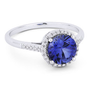 1.72ct Round Brilliant Cut Lab-Created Blue Sapphire & Diamond Halo Promise Ring in 14k White Gold