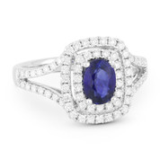 1.77ct Oval Cut Sapphire & Diamond Pave Double-Halo Engagement Ring in 18k White Gold