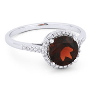 1.78ct Round Brilliant Cut Garnet & Diamond Halo Promise Ring in 14k White Gold