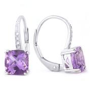 1.82ct Cushion Cut Amethyst & Round Cut Diamond Leverback Drop Earrings in 14k White Gold