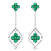 1.85ct Emerald Cluster & Diamond Pave Dangling Flower Earrings in 18k White Gold