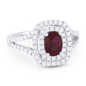 1.89ct Red Ruby & Diamond Pave Double-Halo Engagement Ring in 18k White Gold
