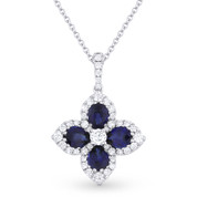 1.91ct Sapphire & Diamond Pave Flower Pendant in 18k White Gold Flower Pendant w/ 14k Chain Necklace