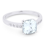1.93ct Cushion Cut White Topaz & Round Cut Diamond Engagement / Promise Ring in 14k White Gold