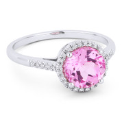 1.95ct Round Brilliant Cut Lab-Created Pink Sapphire & Diamond Halo Promise Ring in 14k White Gold