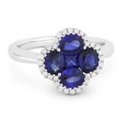 1.96ct Sapphire Cluster & Diamond Pave Right-Hand Flower Ring in 18k White Gold